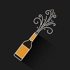 champagne bottle explosion drink celebration vector illustration