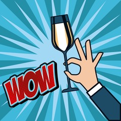 pop art hand holding champagne glass cheers celebration vector illustration