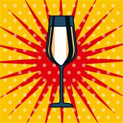 champagne glass drink celebration pop art dots background vector illustration