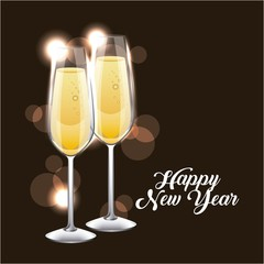 happy new year pair of champagne glass cheers vector illustration