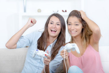women playing video game