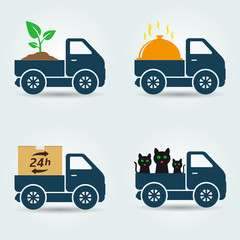 Plants, food, animals and parcels delivery van icons