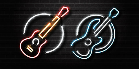 Vector realistic isolated neon sign of guitar for decoration and covering on the wall background. Concept of music, dj and live concert.