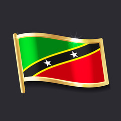 flag of Saint Kitts and Nevis in the form of badge, flat image