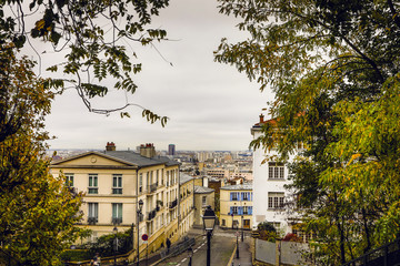 Montmartre top view in Paris, France.