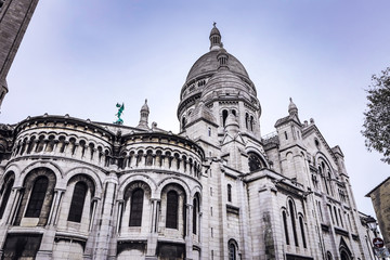 Basilica Sacre Coeur in Montmartre in Paris, France.