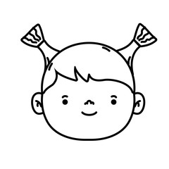 line avatar girl head with hairstyle design