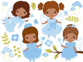 Vector Set of Cute Little African American Fairies
