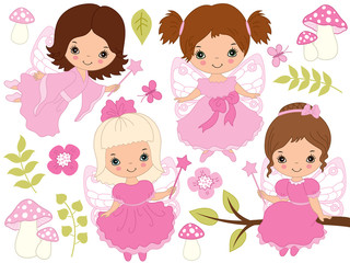 Vector Set of Cute Little Fairies