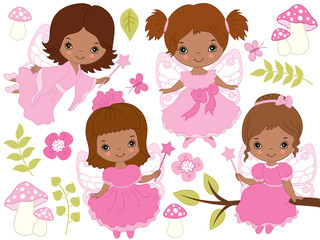 Vector Set of Cute Little African American Fairies