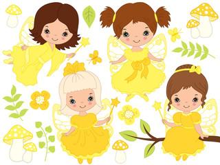 Vector Set of Cute Little Fairies