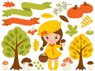 Vector Set with Cute Little Girl and Autumn Elements