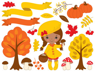 Vector Set with Cute Little African American Girl and Autumn Elements