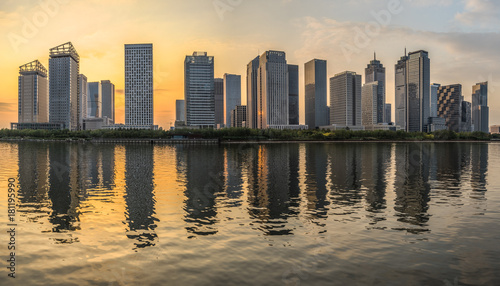 urban skyline and modern buildings at dusk cityscape of china