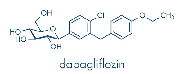 Dapagliflozin diabetes drug molecule. Inhibitor of sodium-glucose transport proteins subtype 2 (SGLT2). Skeletal formula.