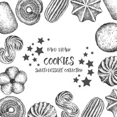 Cookies background design template. Vintage black and white illustration. Sweet and Baked vector element.