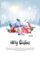 Photo sur Plexiglas Christmas Banner with Copy Space Holiday Card Present Boxes In Snow Over Winter Forest View Vector Illustration