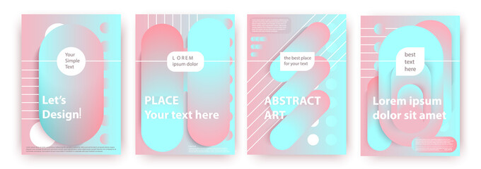 Abstract compositions from the rounded bands, futuristic and modern colors. Vector templates for posters, banners, flyers and presentations.