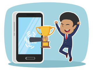 African businessman happy got trophy from smartphone– stock illustratration