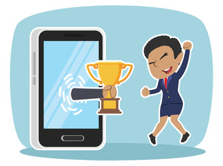 African businesswoman happy got trophy from smartphone– stock illustration