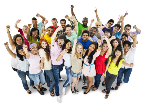 Cheerful group of diverse students