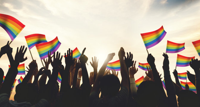 A crowd with LGBT rainbow flags