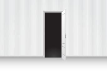 Realistic white room open door interior vector illustration.