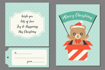 teddy bear in present box holding flag for Christmas greeting card with polka dot seamless pattern and blessing text