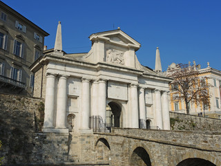 Bergamo - Old city. One of the beautiful city in Italy. Lombardia. Landscape on the old gate named Porta San Giacomo
