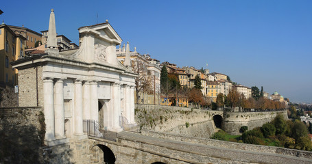 Bergamo, the old city. One of the beautiful city in Italy. Lombardia. Landscape on the old gate named Porta San Giacomo and historical buildings
