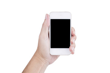Man hand holding a smart phone with blank screen, isolated on white background