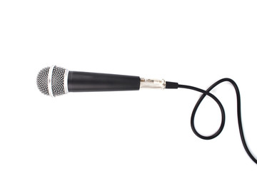 Black Microphone with cable isolated on white background