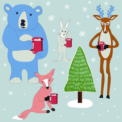 Funny forest animals enjoying hot cocoa in a winter .