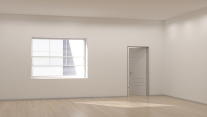 empty room modern space interior 3d rendering and sunlight in white room