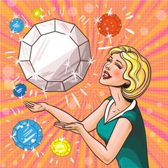 Vector vintage pop art illustration of woman with gemstones