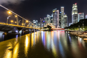 Singapore river at night with financial district in Singapore