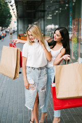 Shopping surprise women clothing concept. The best gift for a woman. Fashion passion.