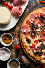 food photography art. pizza recipe. restaurant menu concept