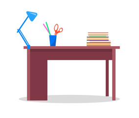 Teacher's Table with Books, Stationery and Lamp