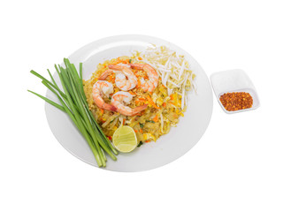 Pad thai, Stir fried noodle with shrimp on white background