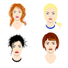 Vector set of women heads with different types of haircut and colors of eyes for avatars and icons