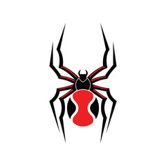 Redback spider top view vector illustration