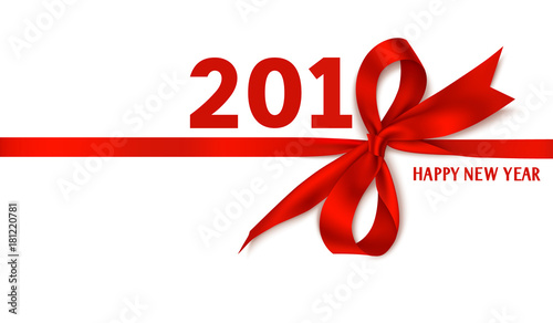 happy new year 2018 template design vector background with red bow and ribbon winter