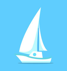 Sailing Ship White Icon Isolated on Blue Vector