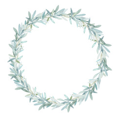 Watercolor leaves wreath. Hand drawn isolated border