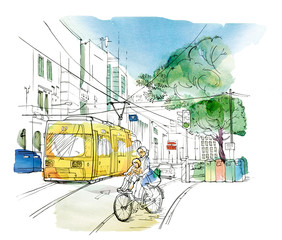 Sketch of an urban landscape with a Woman with a child on a bicycle, a yellow trolley bus, a car, a traffic light and tanks for separate collection of garbage.