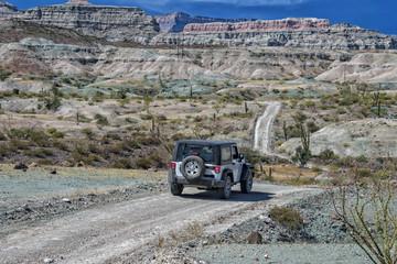 jeep car in baja california landscape panorama desert road