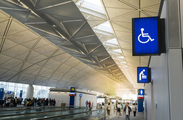 Illuminated signboard for deaper changing rooms, disabled toilet and woman toilet in Hong Kong International Airport