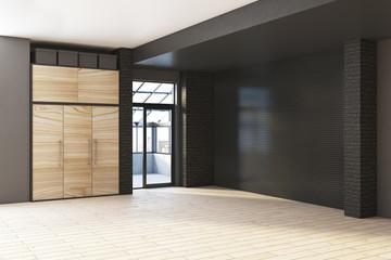Empty contemporary black interior