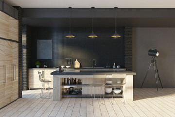 Wall Mural - Modern loft black kitchen interior
